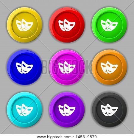 Mask Icon Sign. Symbol On Nine Round Colourful Buttons. Vector