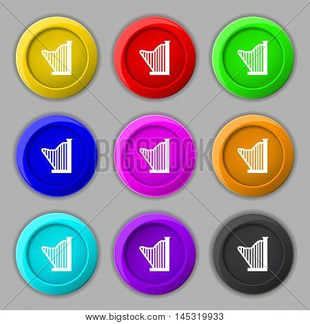 Harp Icon Sign. Symbol On Nine Round Colourful Buttons. Vector