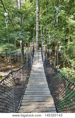 suspension bridge in the forest of the natural reserve in Han-sur-Lesse Belgium
