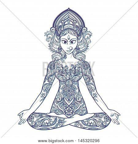 Ornament beautiful card with Vector yoga. Geometric element hand drawn. Balance karma. Design element for a yoga class, or for a web site. Kaleidoscope,  medallion, yoga, india, arabic,  harmony