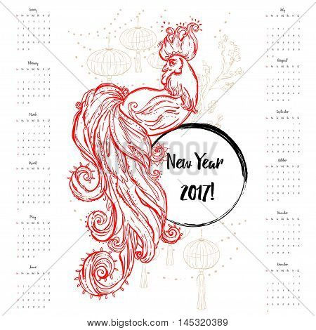 Zodiac Signs of Rooster. Chinese Happy New year 2017 beautiful illustration ornament feather. Dates calendar. Cock vector