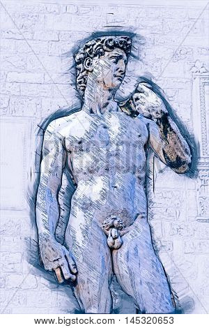 David by Michelangelo in front of Palazzo Vecchio, Florence Italy. Painting of travel scene, pencil outlines of background.