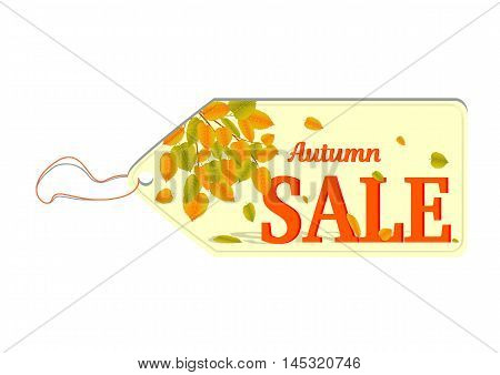 Label with text Autumn Sale and yellow falling leaves in the background