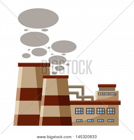 Plant produces smoke from chimneys icon in cartoon style isolated on white background. Production symbol