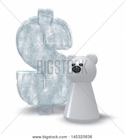 ice dollar symbol and white bear pawn - 3d rendering