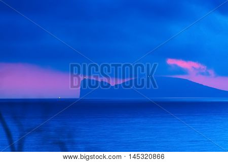 pink and blue sunset in Capo Caccia Sardinia