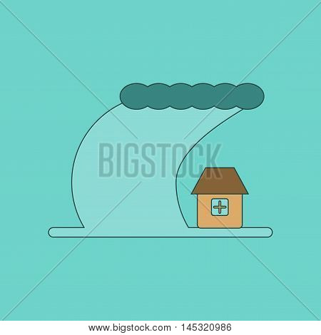 flat icon on stylish background tsunami city, vector