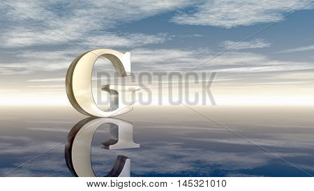 metal uppercase letter g under cloudy sky - 3d rendering