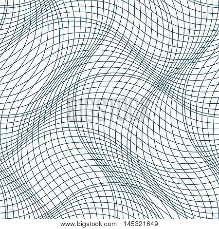 Vector ornamental continuous background made using undulate lines and curves. Monochrome netting