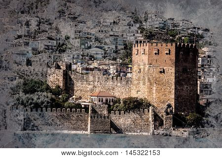 Kizil Kule Red Tower in Alanya, Antalya, Turkey. Vintage painting, background illustration, beautiful picture, travel texture