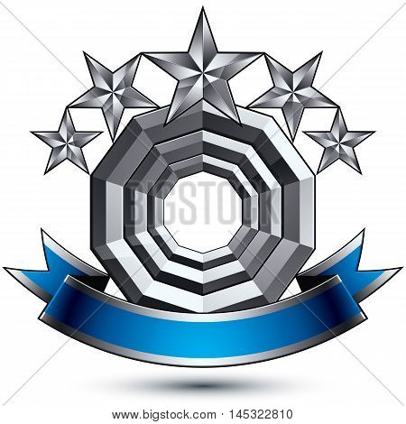 3d vector royal symbol sophisticated silver round emblem with five pentagonal stars isolated on white background glossy argent element with blue splendid ribbon.