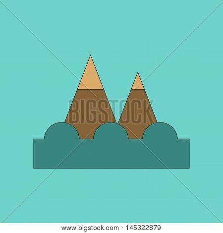 flat icon on stylish background tsunami mountains, vector
