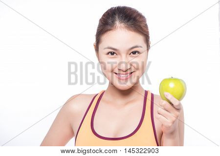 Isolated brown hair fitness asian woman with an apple
