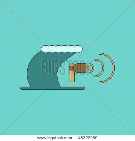 flat icon on stylish background tsunami loudspeaker, vector