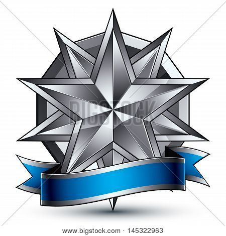 Glamorous vector template with polygonal silver star symbol best for use in web and graphic design.