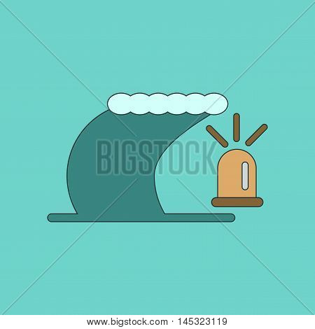 flat icon on stylish background tornado alarm lamp, vector