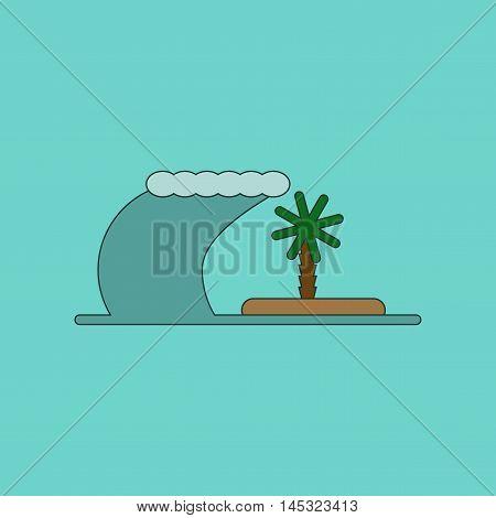 flat icon on stylish background tsunami Island, vector
