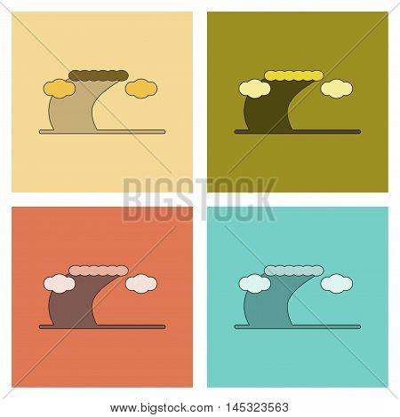 assembly of flat icons nature ocean tsunami, vector