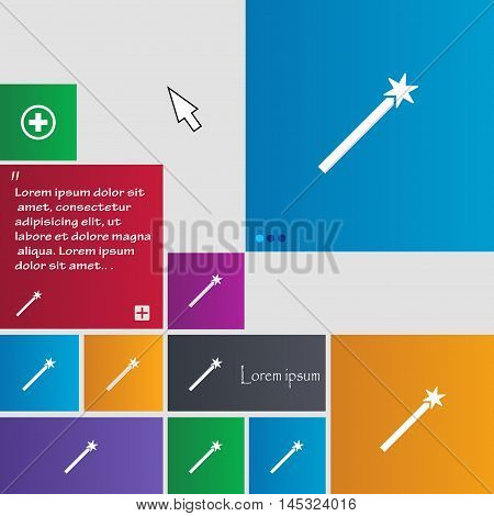 Magic Wand Icon Sign. Buttons. Modern Interface Website Buttons With Cursor Pointer. Vector