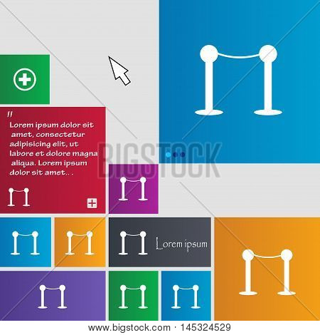Cinema Fence Line Icon Sign. Buttons. Modern Interface Website Buttons With Cursor Pointer. Vector