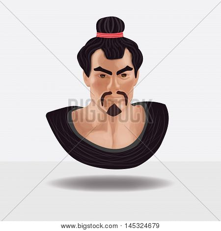 The image of the samurai on a white background