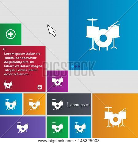 Drum Icon Sign. Buttons. Modern Interface Website Buttons With Cursor Pointer. Vector