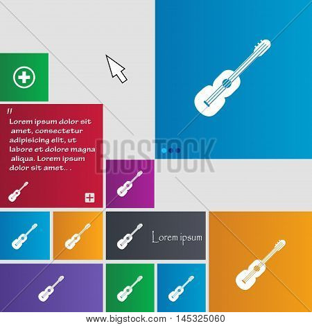 Acoustic Guitar Icon Sign. Buttons. Modern Interface Website Buttons With Cursor Pointer. Vector