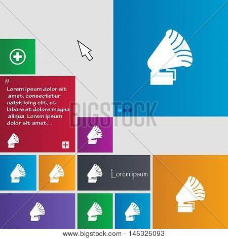 Gramophone Icon. Sign. Buttons. Modern Interface Website Buttons With Cursor Pointer. Vector