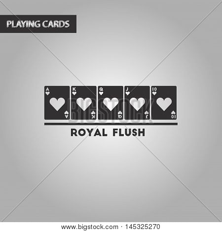 black and white style poker royal flush