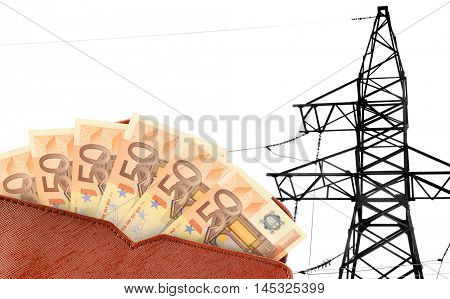 Wallet with euro banknotes and high voltage tower lines background.