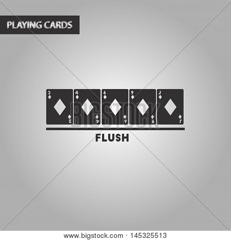 black and white style poker flush cards