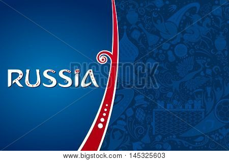 Russian blue background world of Russia pattern with modern and traditional iconic elements vector illustration
