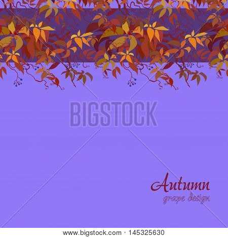 Autumn grape vine border design. Wilde grape with red orange leaves and berries. Horizontal design. Colorful autumn or fall banner template. Vector illustration stock vector.