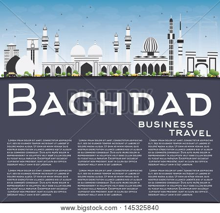 Baghdad Skyline with Gray Buildings, Blue Sky and Copy Space. Vector Illustration. Business Travel and Tourism Concept with Historic Buildings. Image for Presentation Banner Placard and Web Site.