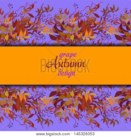 Autumn grape vine border banner design. Wilde grape with red orange leaves and berries. Horizontal colorful autumn or fall banner template. Vector illustration stock vector.