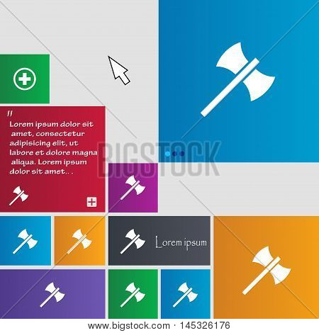Battle Axe Icon Sign. Buttons. Modern Interface Website Buttons With Cursor Pointer. Vector