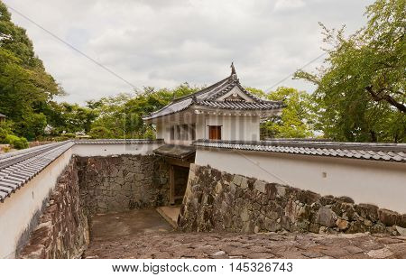 TATSUNO JAPAN - JULY 21 2016: Reconstructed Yaguramon Gate of Tatsuno castle in Hyogo prefecture Japan. Castle was erected in 1577 as a subordinate fort to Himeji castle