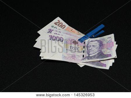 czech money, czech crown, money background, on black desk, ceska koruna, Various bills as background
