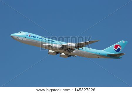 ZARAGOZA SPAIN - MAY 20 2016: Korean Air Cargo Boeing 747 taking off from Zaragoza airport