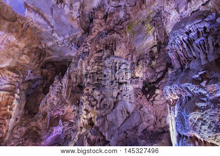 Beautiful formation of stalactites and stalagmites in cave