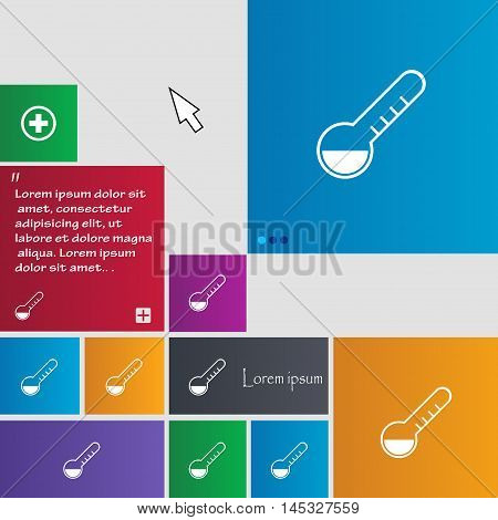 Thermometer Icon Sign. Buttons. Modern Interface Website Buttons With Cursor Pointer. Vector