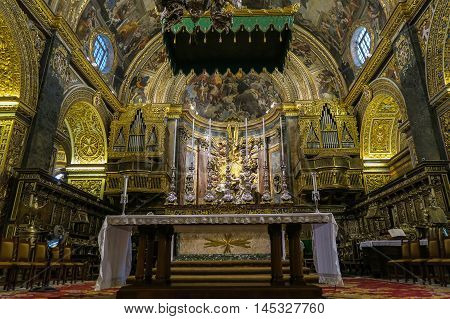 Valletta, Malta - August 04 2016: Saint Johns Co-Cathedral interior detail. The church was built between 1572 and 1577.