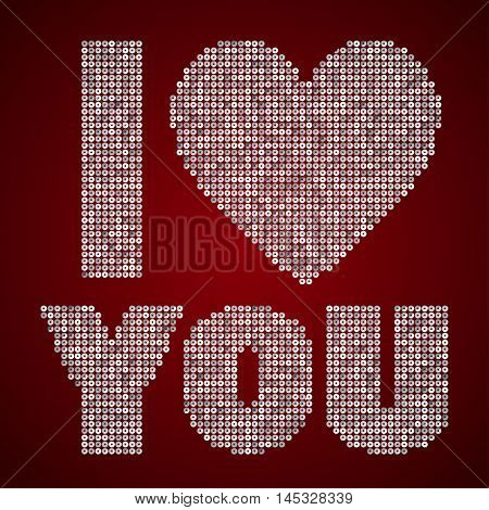 The inscription - I love you - on the background with sequins or inscription with sequins.