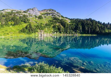 Twin lakes in Mt.Baker Recreational Area,Washington, USA