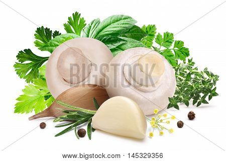 Mushrooms For Pickling, Herbs, Garlic,  Paths