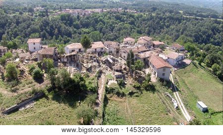 Amatrice, Italy - 24 August 2016: Casale after earthquake, several houses collapsed