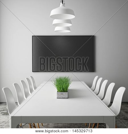 3D rendering mock up tv screen in meeting room with conference table