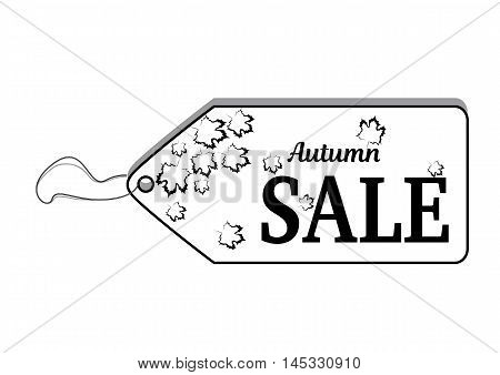 Label with text Autumn Sale and black falling maple leaves in the background