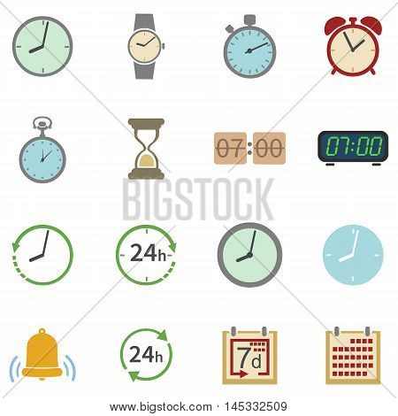 Vector Set Of 16 Color Time Icons