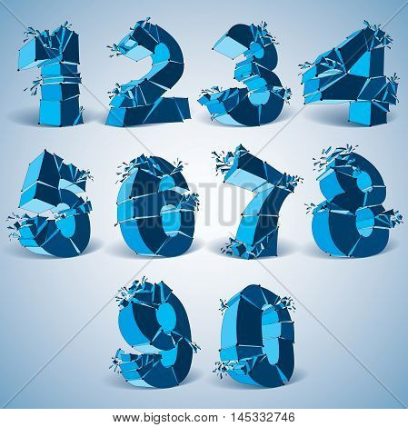 Set of 3d vector digital wireframe blue numbers from 0 to 9 broken into different particles geometric polygonal numeration with lines mesh. Low poly shattered typescript lattice elements.